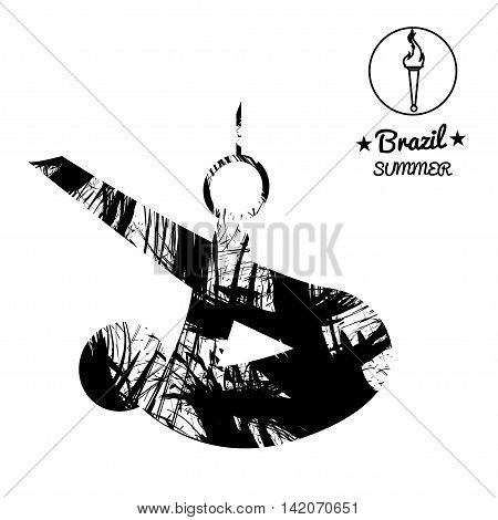 Brazil summer sport card with an abstract sportsman performing gymnastics on rings in black outlines. Digital vector image