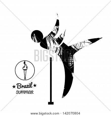 Brazil summer sport card with an abstract hammer thrower in black outlines. Digital vector image