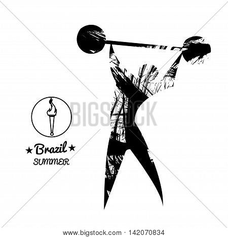 Brazil summer sport card with an abstract weightlifter in black outlines. Digital vector image