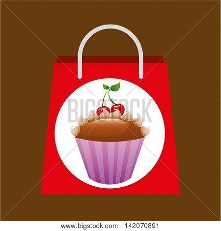 hand holding bag muffins, fresh bakery products, vector illustration