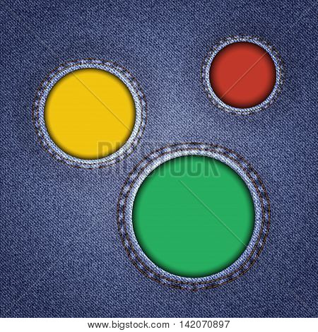 Denim texture with multicolored round holes. Vector illustration.