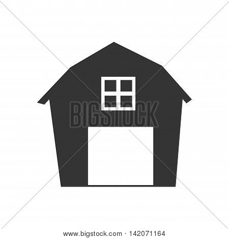 Simple Vector Farmhouse Icon On Photo