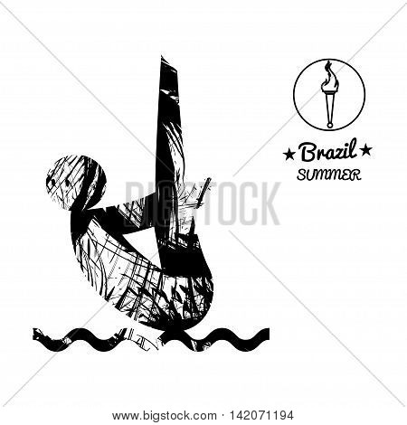 Brazil summer sport card with an abstract sportsman jumping in water in black outlines. Digital vector image