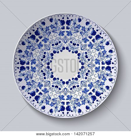 Blue ornament of berries and flowers. Pattern is applied on a ceramic plate. Vector illustration.