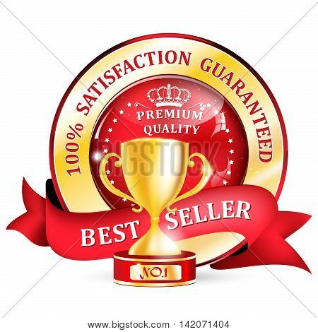 Best seller, premium quality, Satisfaction guaranteed - ribbon / label with golden cup