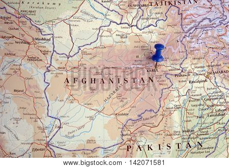 the hague Netherlands-august 10 2016: Map of Afghanistan with pushpin illustrative editorial