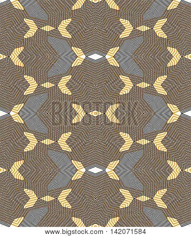 Continuous vector pattern with graphic lines decorative abstract background with overlay shapes.