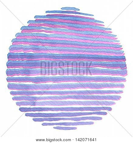 Watercolor circle painted background. Texture paper. Isolated.