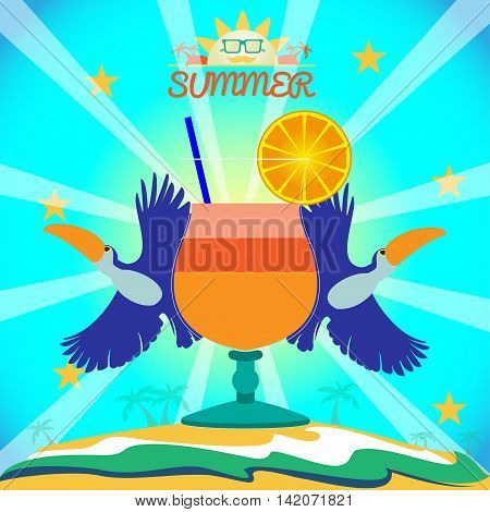 Abstract summer card with toucan birds and a cocktail on sand and sea background. Digital vector image