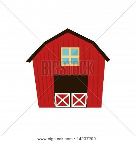 barn farm house ranch  farmer window agriculture door rural farmhouse vector graphic isolated and flat illustration