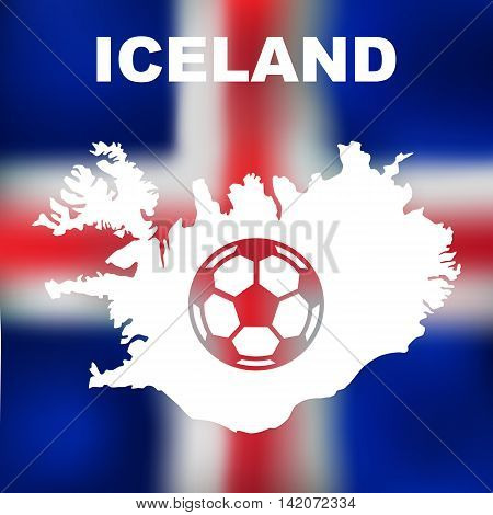 Abstract icelandic map on flag background. Vector illustration of abstract icelandic map and flag. Map of Iceland