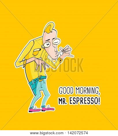 Cartoon character Mister Espresso Coffee, vector illustration in hipster style