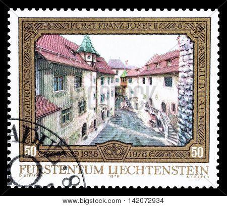LIECHTENSTEIN - CIRCA 1978 : Cancelled postage stamp printed by Liechtenstein, that shows Street.