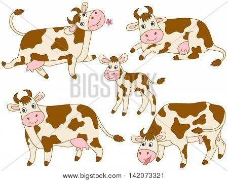 Set of 5 vector cartoon cute cows
