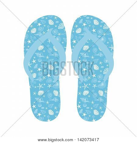 Flip flops, Slippers with seashell pattern on blue background. Beach slippers summer symbol. Beach slippers for traveling design.