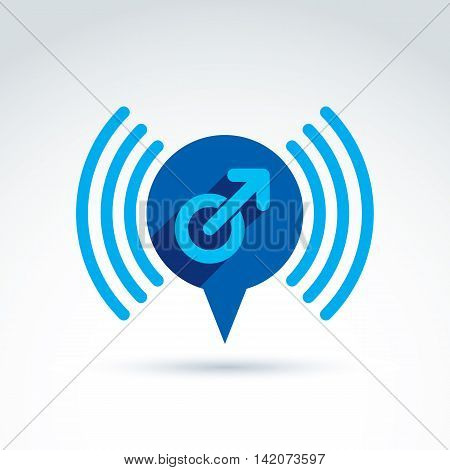 Speech bubble with a blue male sign male gender symbol. Gay or man club conceptual icon