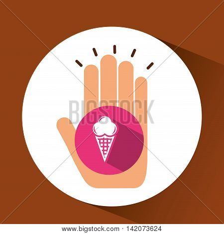 holding ice cream, fresh bakery products, vector illustration