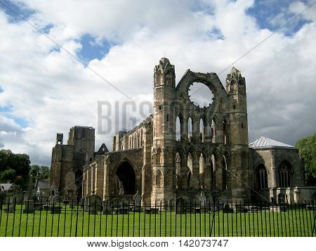 Cathedral of Elgin general view from the back side (Scotland, UK)