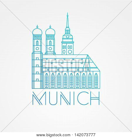 Vector one line minimalist icon of German. Towers of Frauenkirche Cathedral Church in Munich Munchen , Germany. Front view.