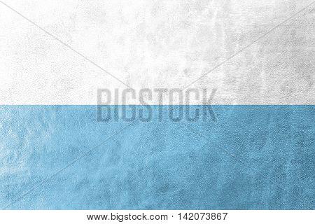 Flag Of Santa Marta, Colombia, Painted On Leather Texture