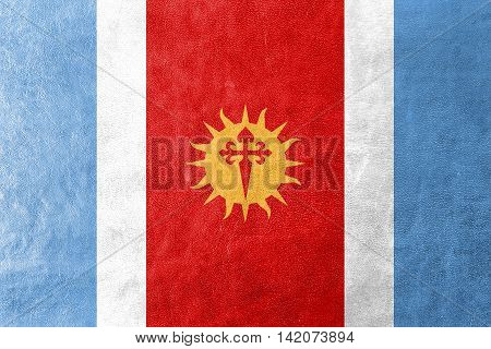 Flag Of Santiago Del Estero Province, Argentina, Painted On Leather Texture
