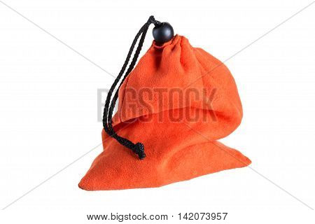 closed drawstring bag isolated, on a white background