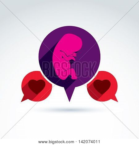 Illustration of a baby embryo and two red loving hearts.