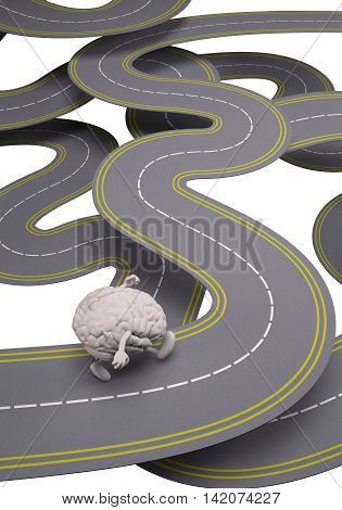 human brain that runs in the street 3d illustration
