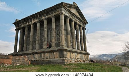 The Temple of Garni - classical Hellenistic in Armenia. Famous landmark and a symbol of ancient times