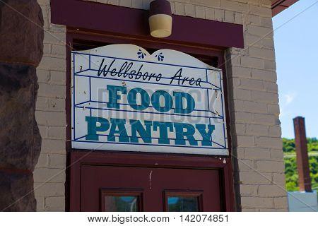 Wellsboro PA - July 26 2016: A Food Pantry Sign in Wellsboro Pennsylvania.