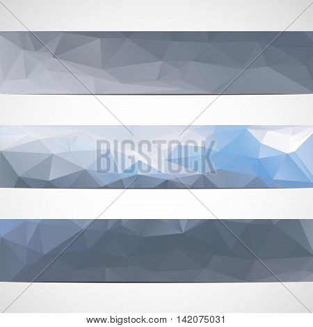 Set of banners in polygonal style. Vectror illustration.