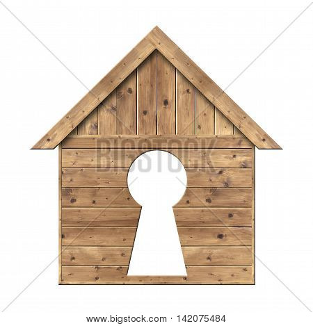 Wooden house with keyhole isolated on a white background