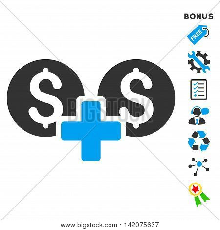 Financial Sum icon with bonus pictograms. Vector illustration style is flat iconic bicolor symbols, blue and gray colors, white background, rounded angles.