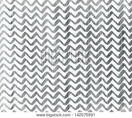Silver Hand Drawn Stripes Background, Chevron.