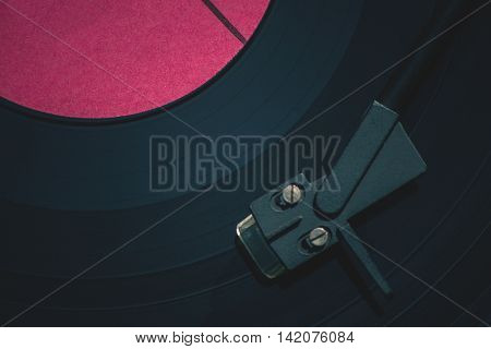 Old vinyl record, the view from the top