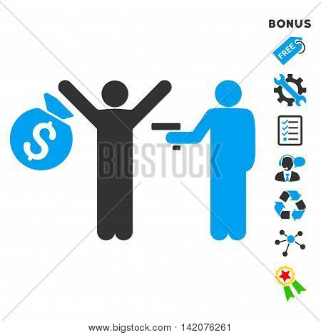 Thief Arrest icon with bonus pictograms. Vector illustration style is flat iconic bicolor symbols, blue and gray colors, white background, rounded angles.