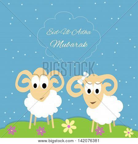 Eid-al-adha Mubarak Muslim community festival of sacrifice greeting card with sheep. Vector Illustration