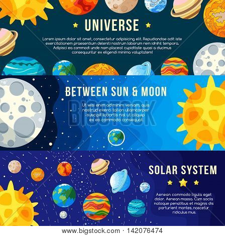 Set of Space banners concepts. Solar system. For website cover. Vector