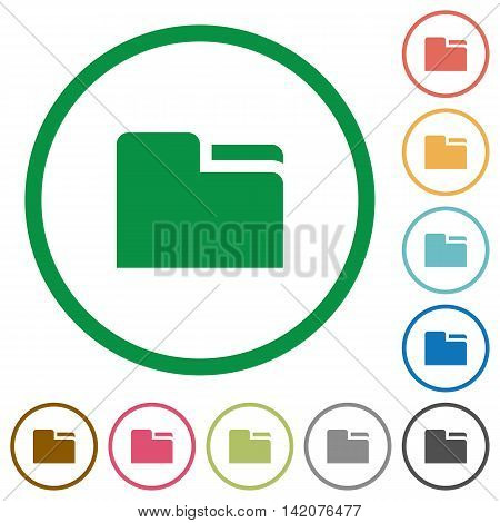 Set of tab folders color round outlined flat icons on white background