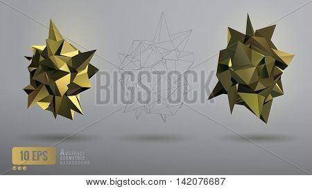 Low poly abstract background with various golden geometric shape