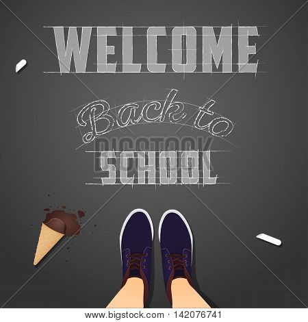Inscription on the pavement back to school background view from above. vector illustration.