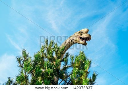 NOVI SAD SERBIA - AUGUST 7 2016: Brachiosaurus life size model of prehistoric animal in theme entertainment Dino Park. This was the largest known dinosaur estimated at 26 metres.