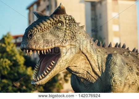 NOVI SAD SERBIA - AUGUST 5 2016: Carnotaurus life size model of prehistoric animal in theme entertainment Dino Park. This was bipedal predator measuring 8 to 9 m.