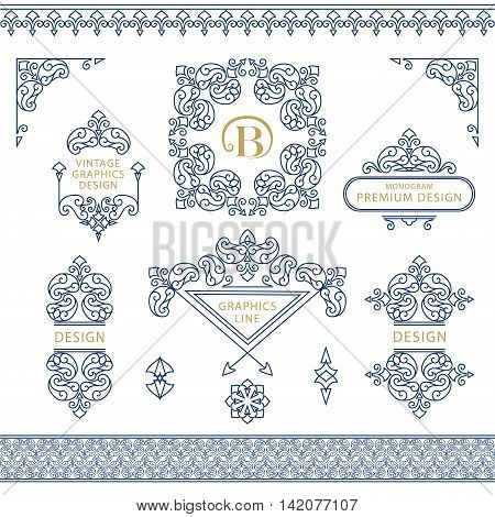 Vector illustration of Set of line art frames and borders for design template. Element in Eastern style. letter B. Outline floral frames. Mono line decor for invitations greeting cards certificate. Vector illustration