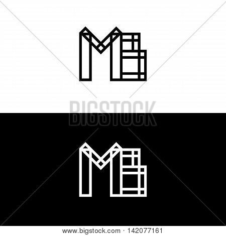Mb initials. Vector logo isolated on white. Modern flat design. Geometric lettering. Linked black and white letters
