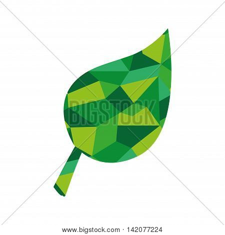 plant abstract green leaf ecology leaves silhouette polygonal vector graphic isolated and flat illustration