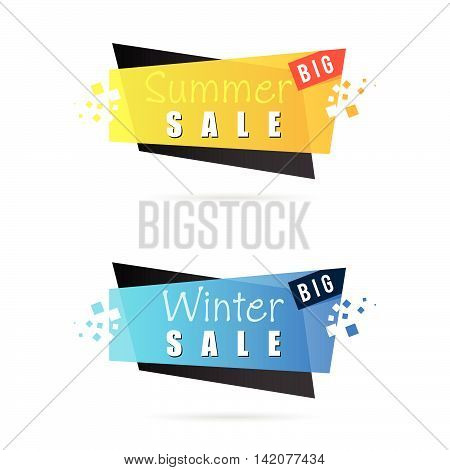 Summer And Winter Sale Tag Icon Illustration In Colorful