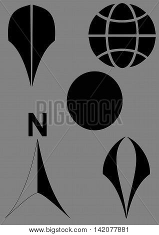 Earth planet globe web and mobile icon. North direction compass icon vector. Vector map pin icon.