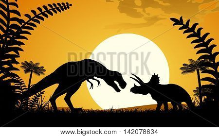 Silhouettes of dinosaurs. Tyrannosaurus and Triceratops on sunset background. Vector illustration.