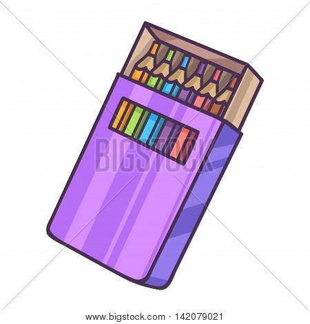 Colored Pencil set Packaging. Paper box. Vector Illustration